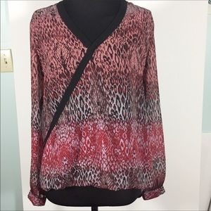 Kut from the Kloth Sheer Leopard Print Wrap Top M